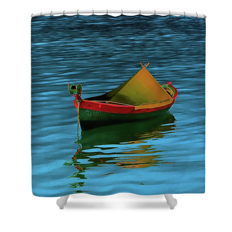 Boat Shower Curtain featuring the photograph Lonely Boat by Janis Vaiba