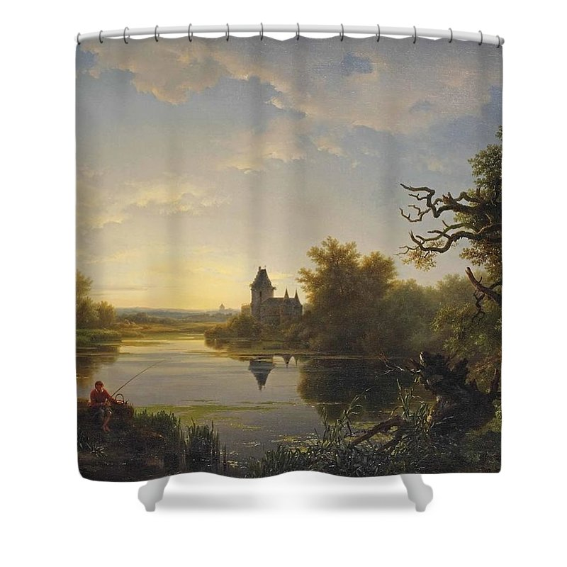 Lonely Fisherman At Twilight Shower Curtain featuring the painting Lonely Fisherman by Louis