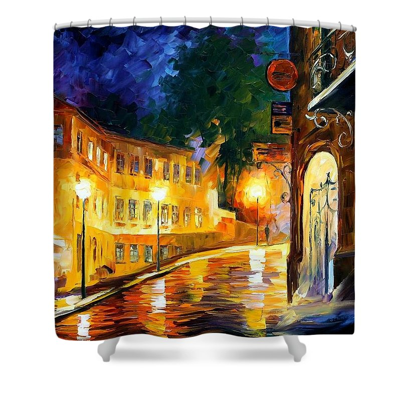 Afremov Shower Curtain featuring the painting Lonely Night by Leonid Afremov
