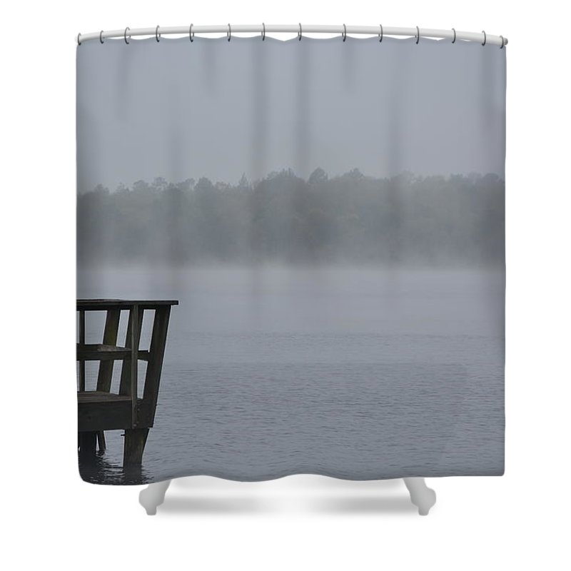Lonely On The Lake Shower Curtain featuring the photograph Lonely On The Lake by Charlie Day