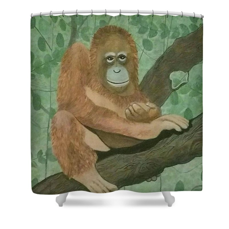 Ape Shower Curtain featuring the painting Lonely Oragutang by Laurie Lusted