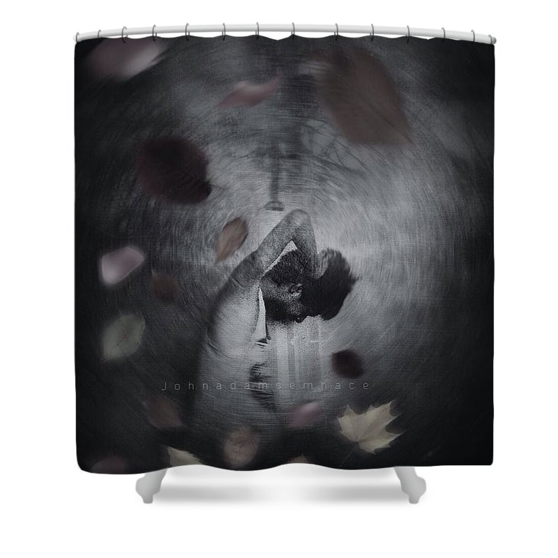 Darkart Shower Curtain featuring the digital art Lonely Soul by John Adams Emnace