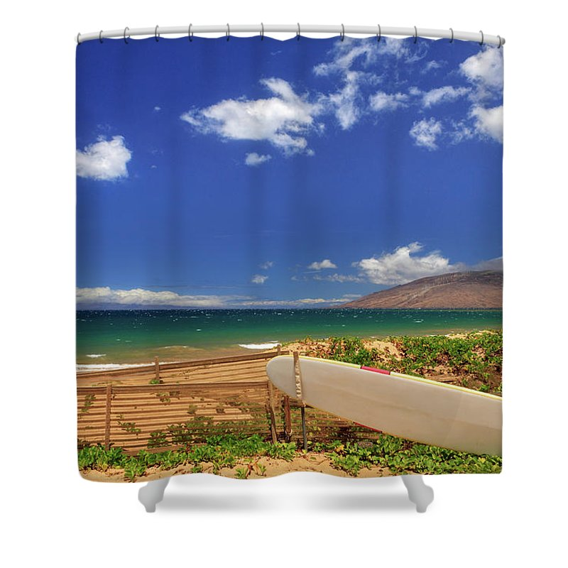 Surfboard Shower Curtain featuring the photograph Lonely Surfboard by James Eddy