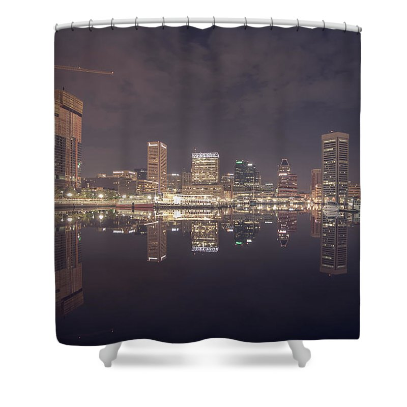 Sky Shower Curtain featuring the photograph Long Exposure Of The Colorful Baltimore Skyline by Alex Grichenko