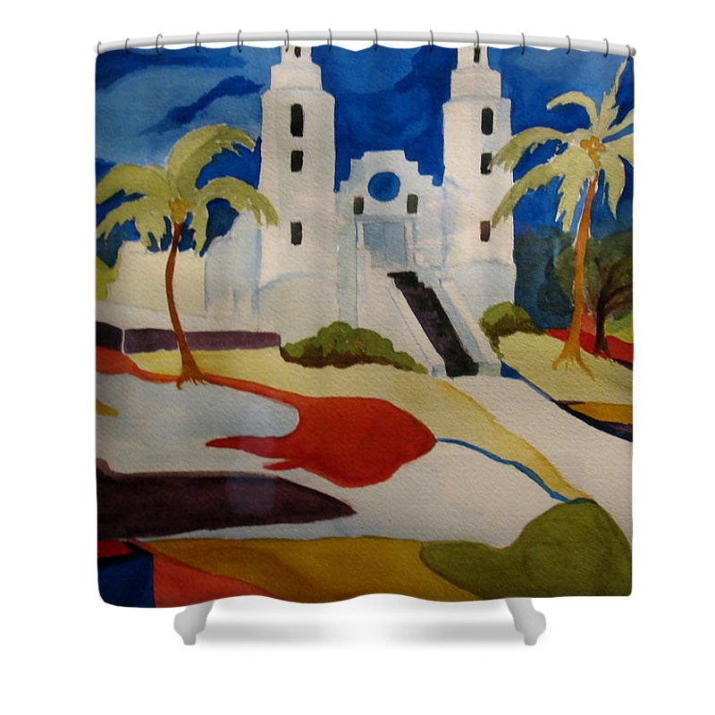 Watercolor Shower Curtain featuring the painting Long Island Church by Donna Steward