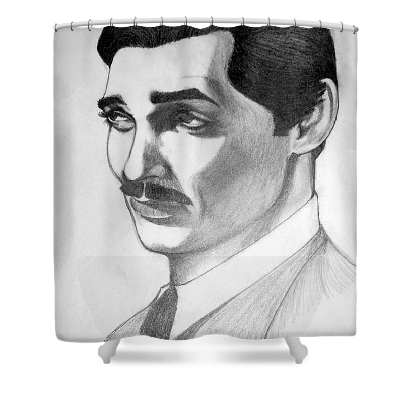 Portrait Shower Curtain featuring the drawing Long Live The King by Marco Morales