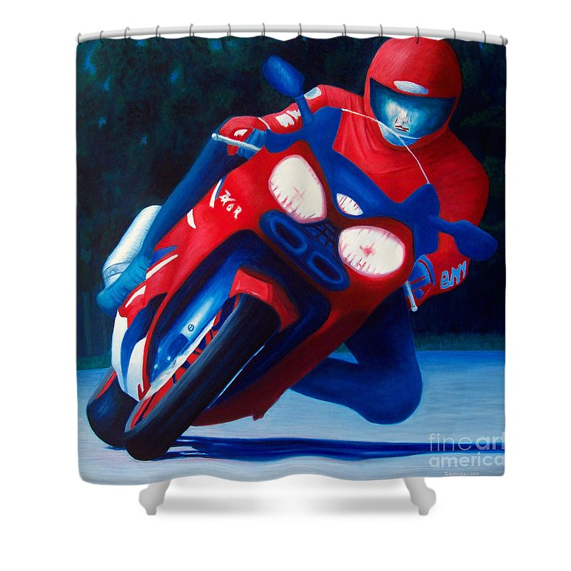 Motorcycle Shower Curtain featuring the painting Long Shadows - Kawasaki Zx6 by Brian Commerford