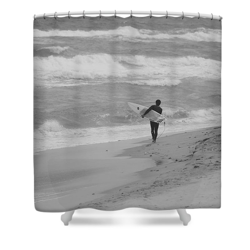Black And White Shower Curtain featuring the photograph Long Walk Home by Rob Hans