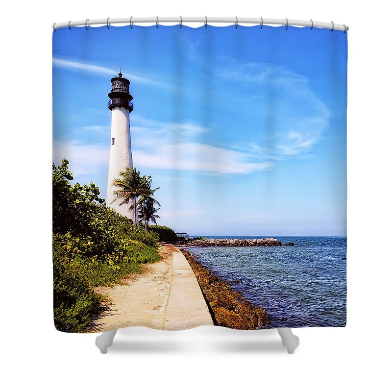 Lighthouse. Look Out Shower Curtain featuring the photograph Look Out by Camille Lopez