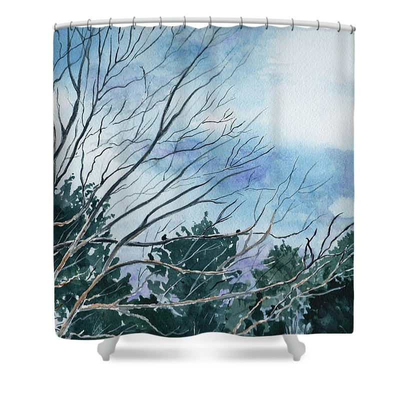 Watercolor Landscape Trees Sky Clouds Blue Shower Curtain featuring the painting Look To The Sky by Brenda Owen