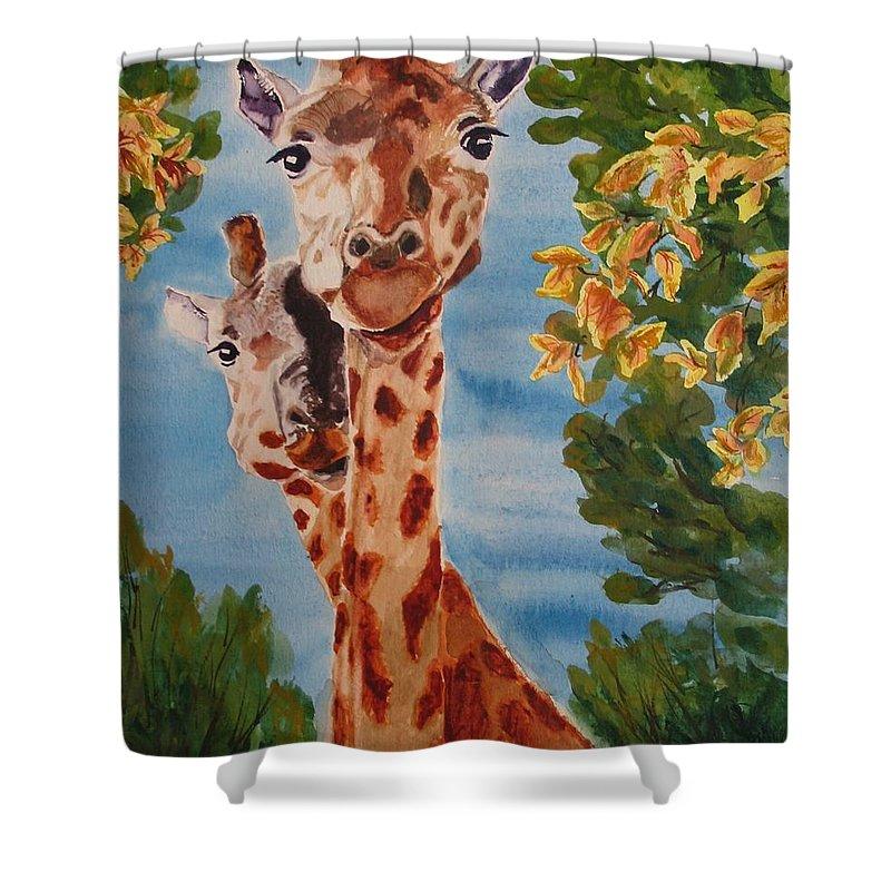 Giraffes Shower Curtain featuring the painting Lookin Back by Karen Ilari
