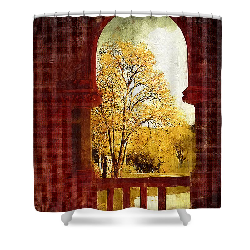Preston Castle Shower Curtain featuring the digital art Lookin Out by Holly Ethan