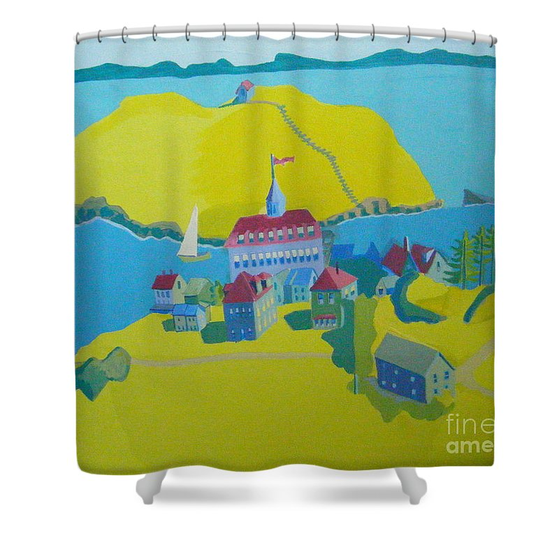 Maine Shower Curtain featuring the painting Looking Down On Monhegan And Manana Islands by Debra Bretton Robinson