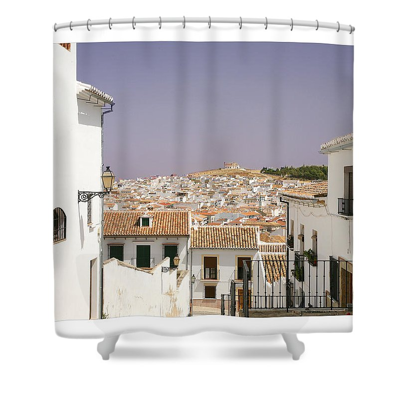 Antequera Shower Curtain featuring the photograph Looking Down Over Antequera From Near The Church Of Santa Maria La Mayor by Mal Bray