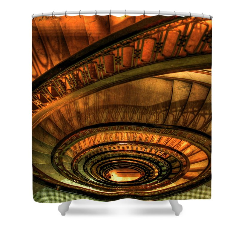 Reid Callaway Looking Down Shower Curtain Featuring The Photograph Looking  Down The Ponce Spiral Staircase Atlanta