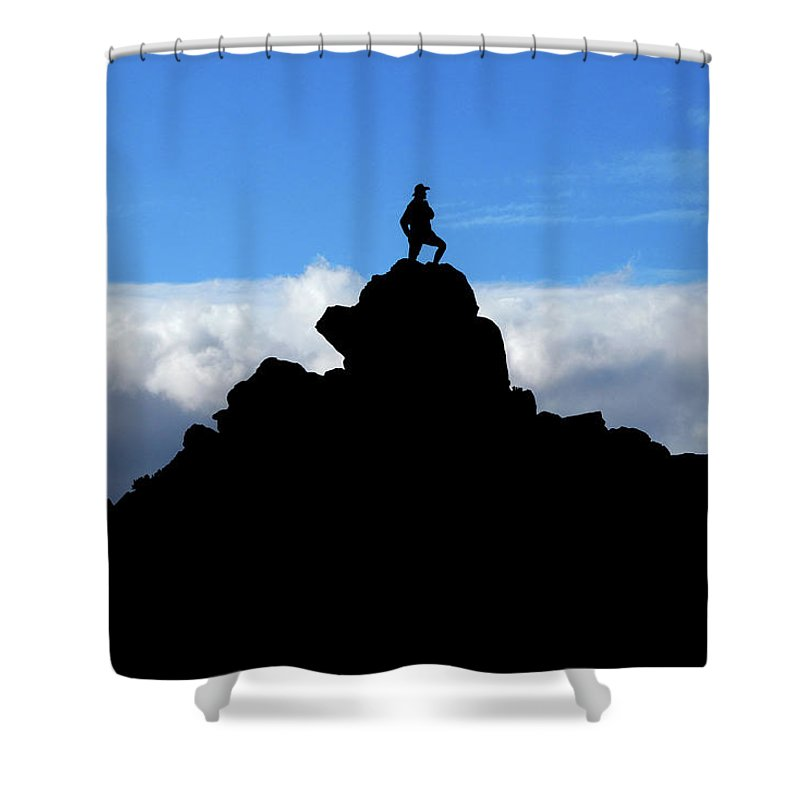 The Walkers Shower Curtain featuring the photograph The Summit Hunter by The Walkers