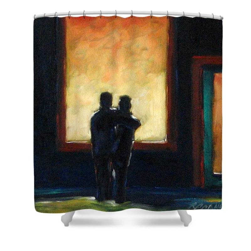 Town Shower Curtain featuring the painting Looking In Looking Out Mini by Richard T Pranke