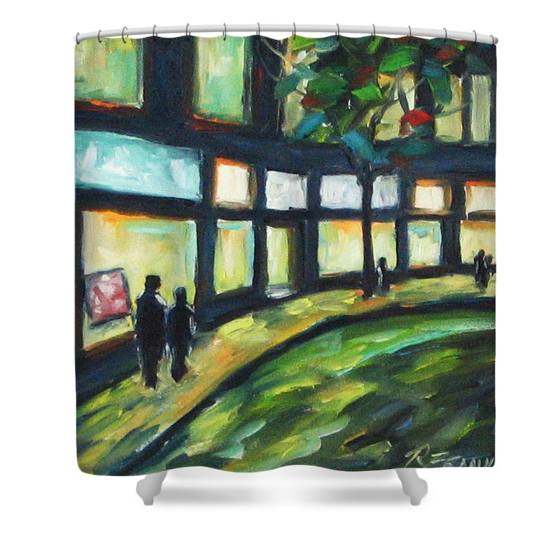 Town Shower Curtain featuring the painting Looking On by Richard T Pranke