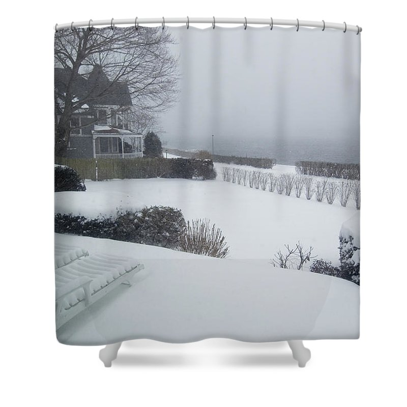 Groton Shower Curtain featuring the photograph Looking Out From A Porch To The River by Todd Gipstein