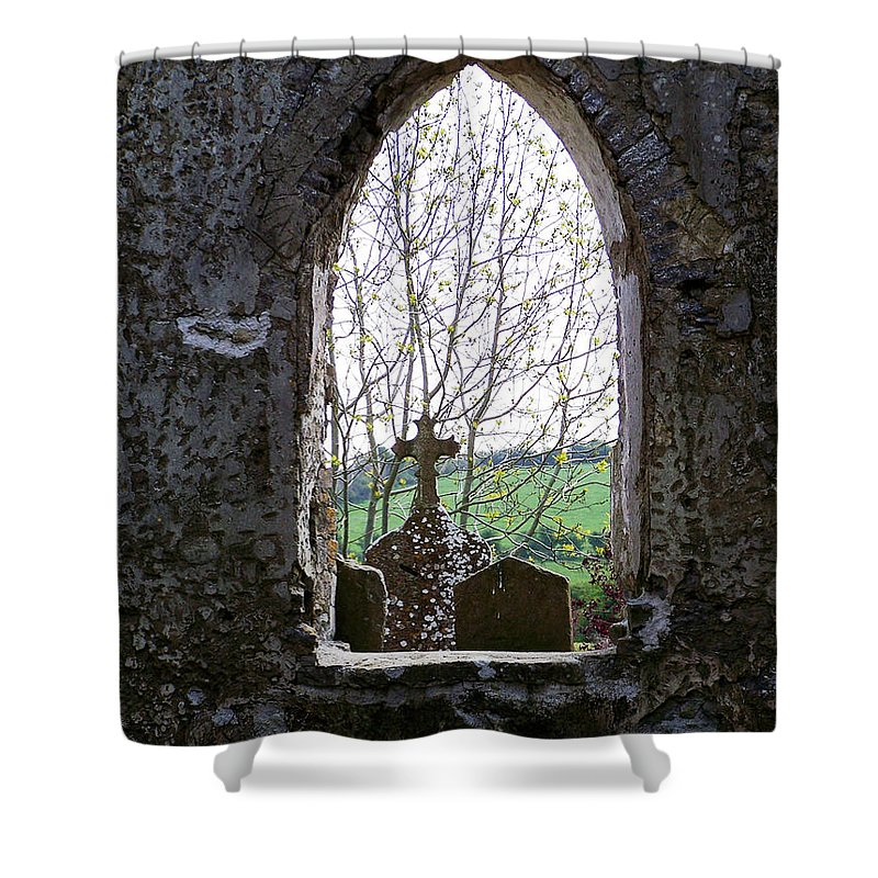 Ireland Shower Curtain featuring the photograph Looking Out Fuerty Church Roscommon Ireland by Teresa Mucha