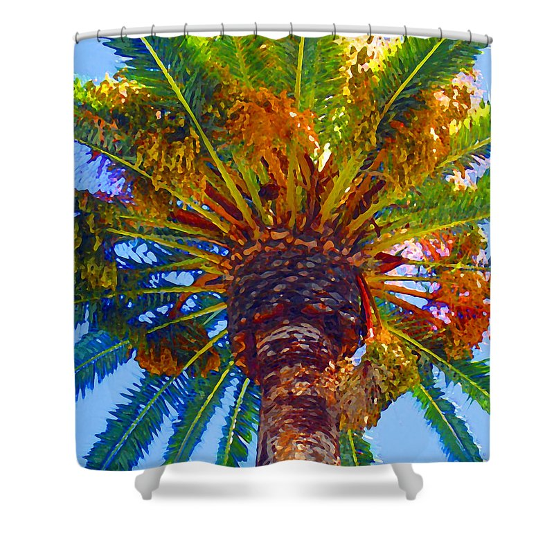 Garden Shower Curtain featuring the painting Looking Up At Palm Tree by Amy Vangsgard