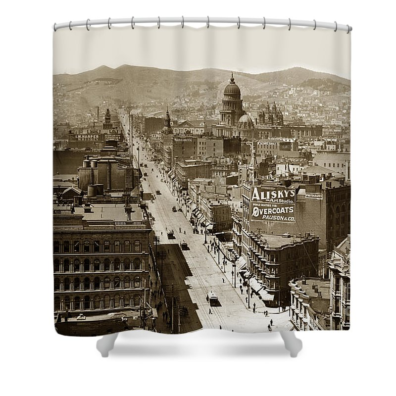 San Francisco Shower Curtain featuring the photograph Looking Up Market Street From The Call Building With City Hall Circa 1900 by California Views Archives Mr Pat Hathaway Archives
