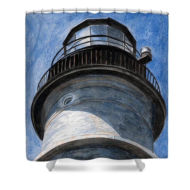 Lighthouse Shower Curtain featuring the painting Looking Up Portland Head Light by Dominic White