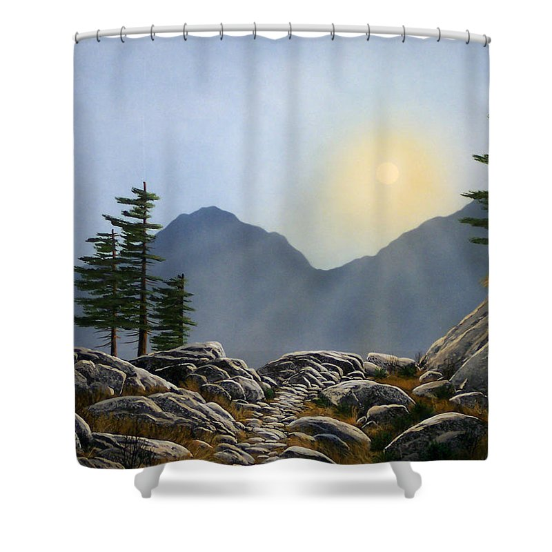 Landscape Shower Curtain featuring the painting Lookout Rock by Frank Wilson