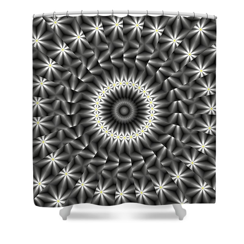 Kaleidoscope Shower Curtain featuring the digital art Looks Like Daisies by Carolyn Marshall