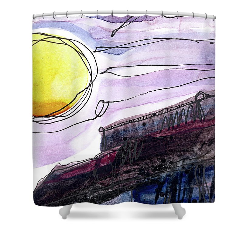 Sun Shower Curtain featuring the painting Looming by Tonya Doughty
