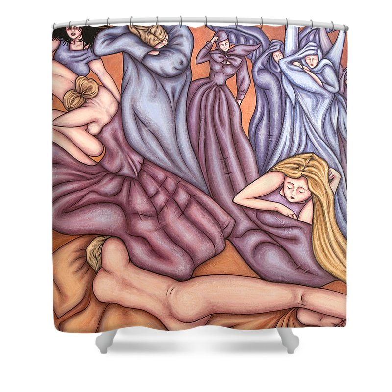 Mourning Shower Curtain featuring the painting Loosing Charles by Judy Henninger