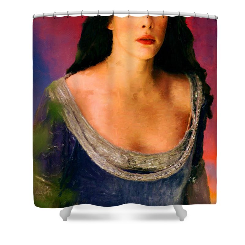 Lord Of The Rings Shower Curtain featuring the painting Lord Of The Rings Arwen by Frank Paul