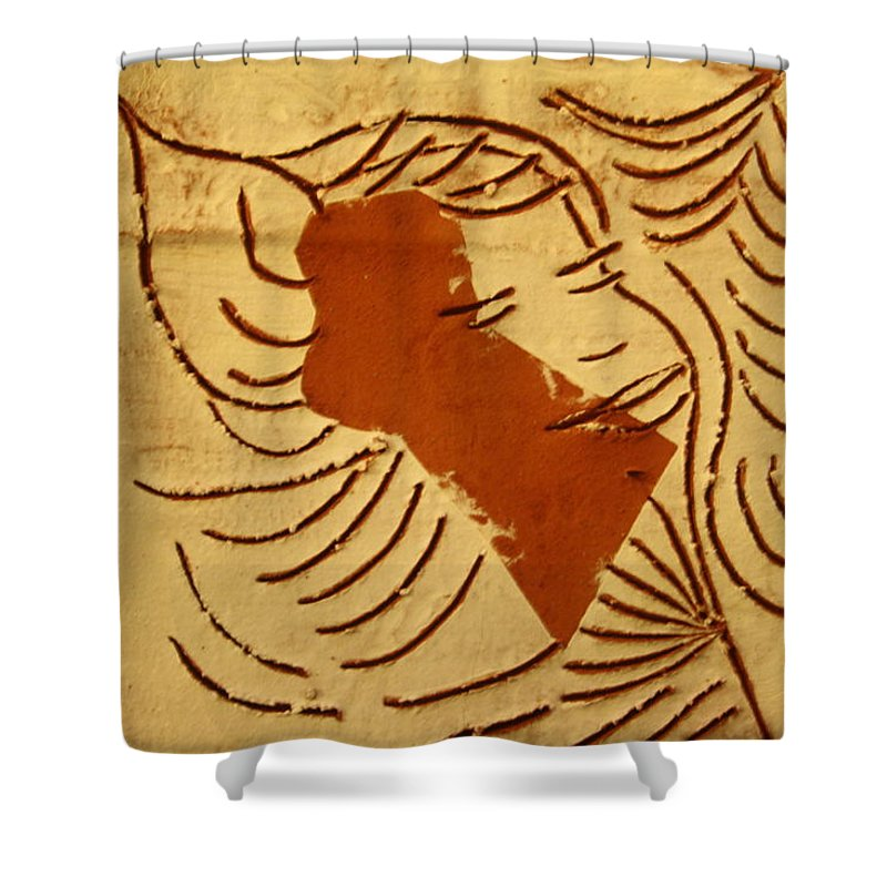 Jesus Shower Curtain featuring the ceramic art Lornah- Tile by Gloria Ssali