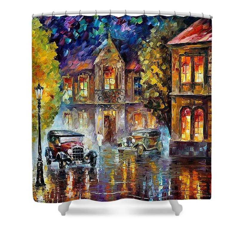 Afremov Shower Curtain featuring the painting Los Angeles 1930 by Leonid Afremov