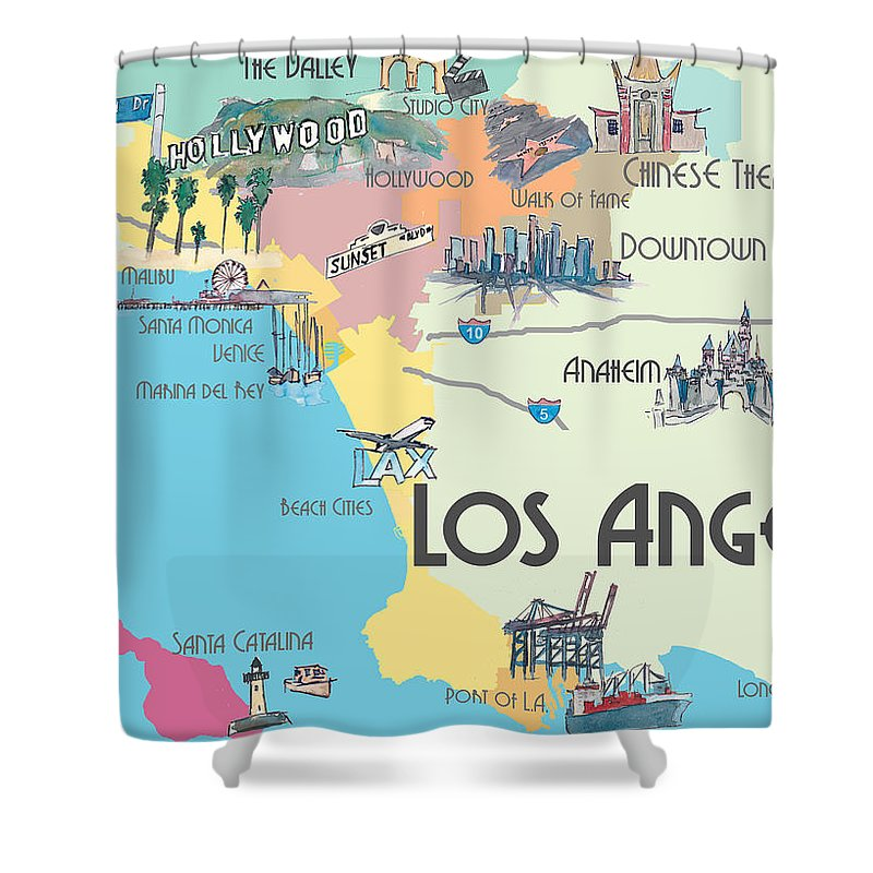 Los Angeles California Map Of Greater L A With Highlights Shower