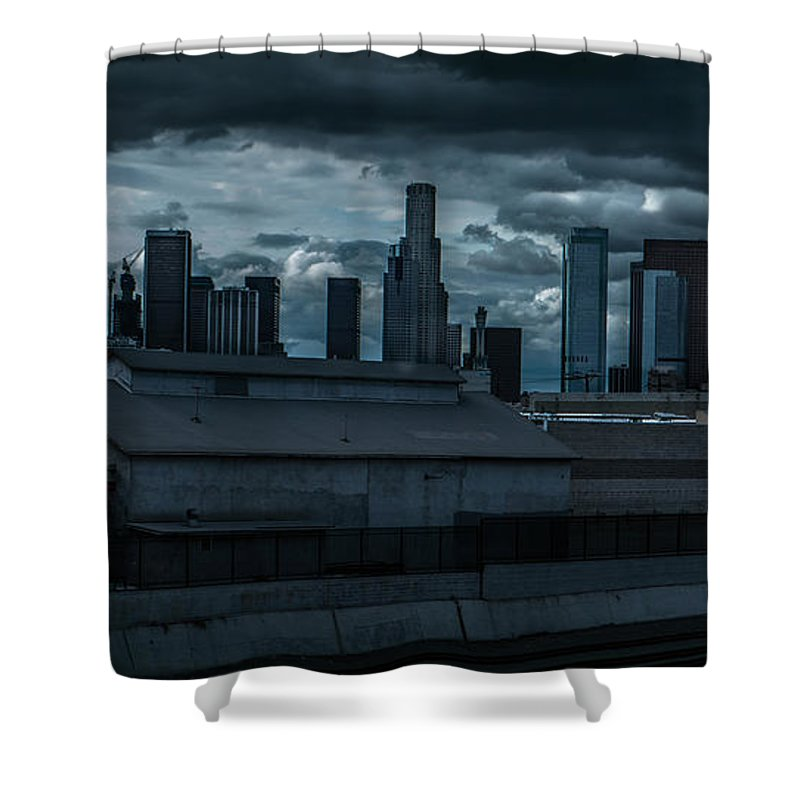 Iphone Cover Shower Curtain featuring the photograph Los Angeles Rain Day by Ralph King