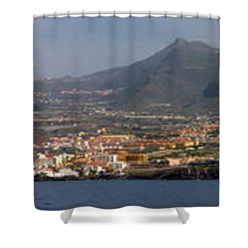 Valasretki Shower Curtain featuring the photograph Los Gigantes Panorama 1 by Jouko Lehto