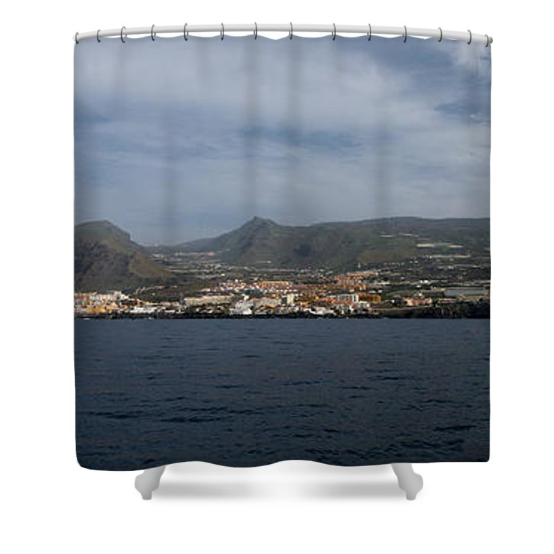 Valasretki Shower Curtain featuring the photograph Los Gigantes Panorama 2 by Jouko Lehto