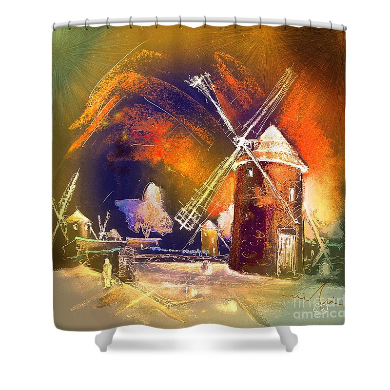 Shower Curtain featuring the painting Los Molinos Del Quijote 01 by Miki De Goodaboom