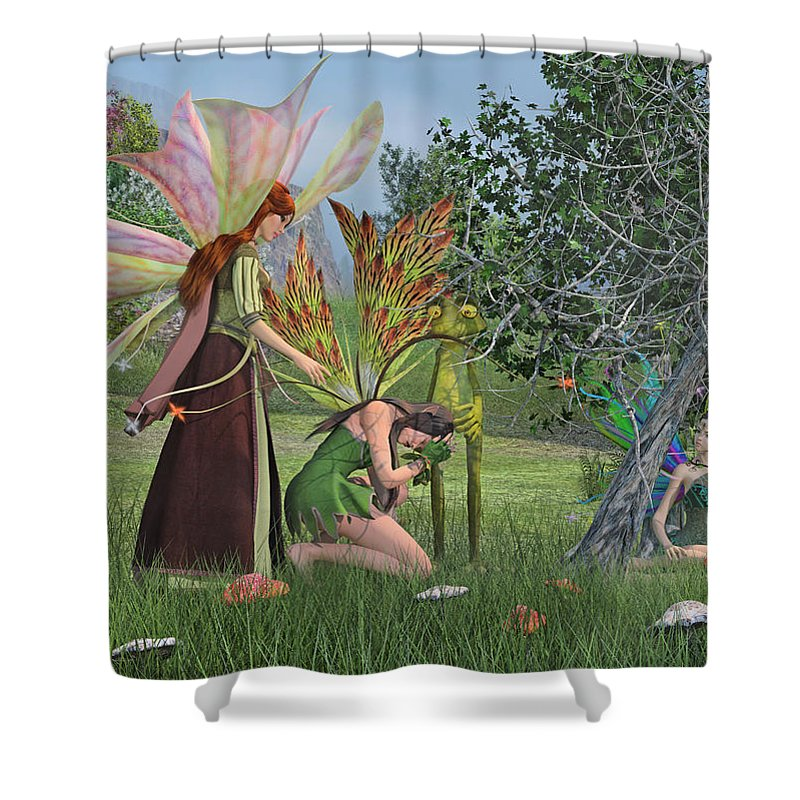 Frog Shower Curtain featuring the digital art Loss And Lost by Betsy Knapp