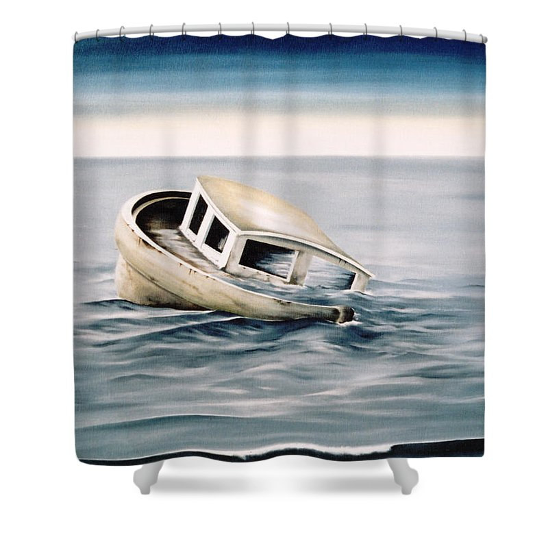 Seascape Shower Curtain featuring the painting Lost At Sea Contd by Mark Cawood