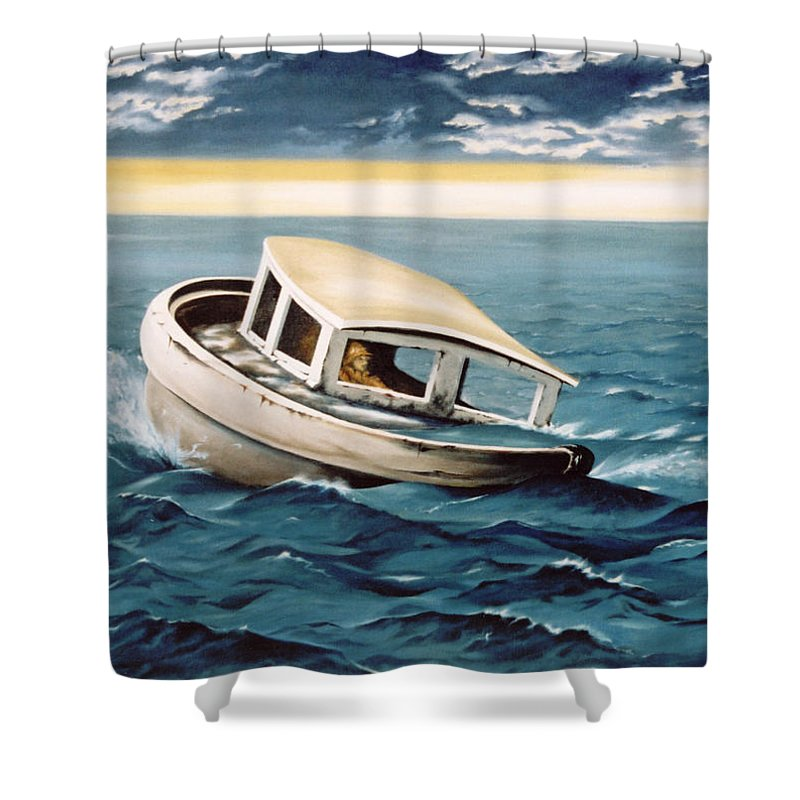 Seascape Shower Curtain featuring the painting Lost At Sea by Mark Cawood