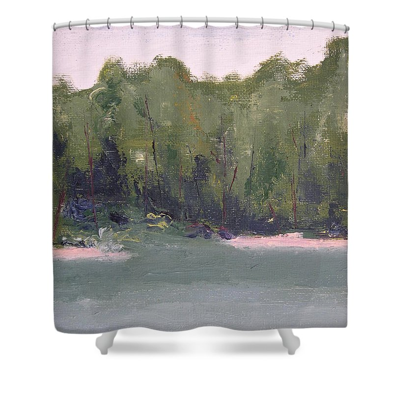 Beach Shower Curtain featuring the painting Lost Beach by Patricia Caldwell