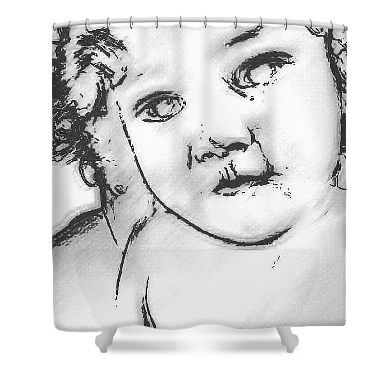 Digital Sketch Shower Curtain featuring the digital art Lost Child by Asenaca Murray