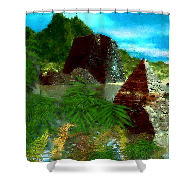 Digital Fantasy Painting Shower Curtain featuring the digital art Lost City by David Lane
