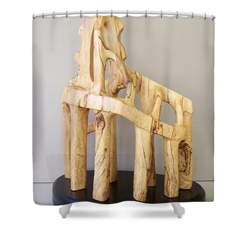 Wood-carving-sculpture-abstract- Shower Curtain featuring the sculpture Lost Glory by Norbert Bauwens