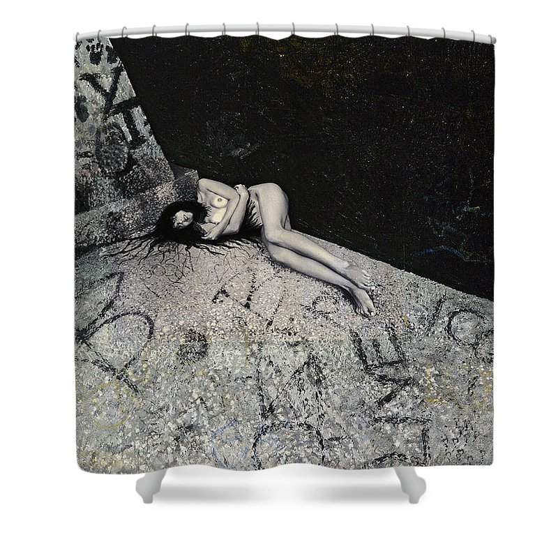 City Shower Curtain featuring the painting Lost In New York by Yelena Tylkina