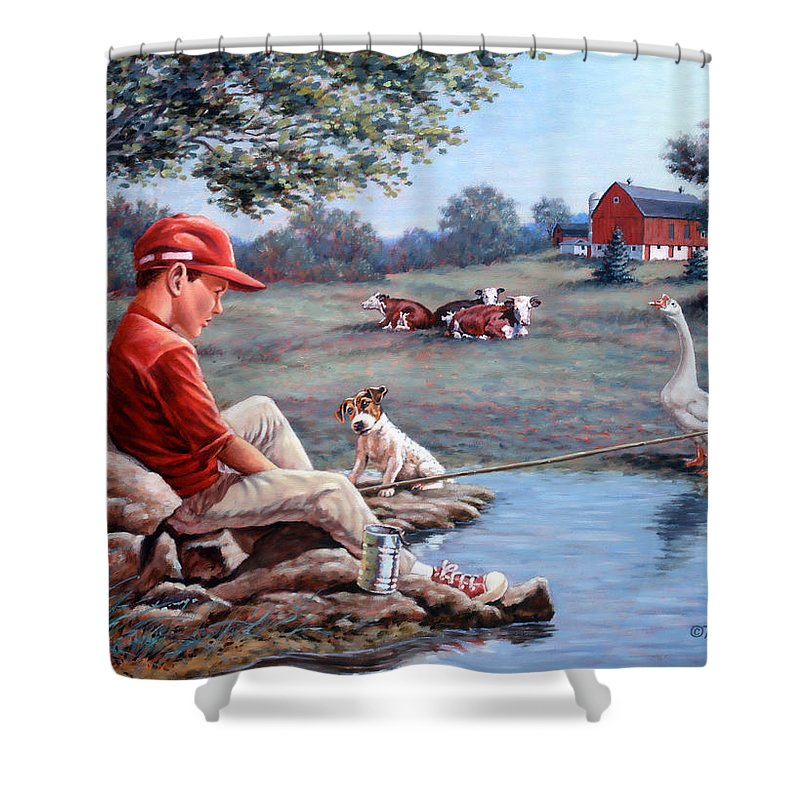 Boy Fishing Shower Curtain featuring the painting Lost In Thought by Richard De Wolfe