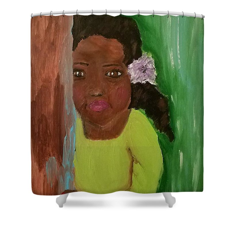 Girl Shower Curtain featuring the painting Lucky Lucy by Lisa Rivers