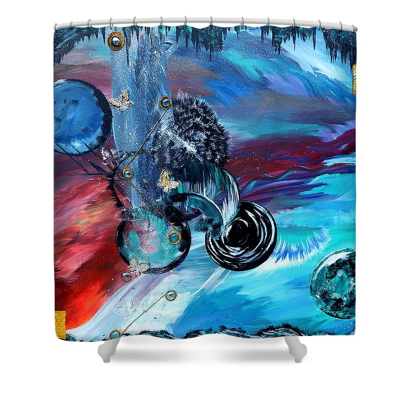Surreal Shower Curtain featuring the painting Lost World by Nicole Champion